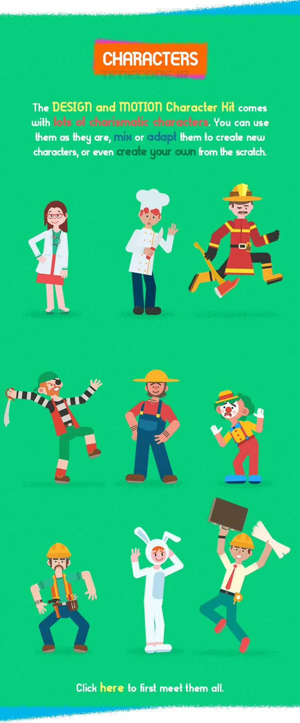 Character Design Kit : دانلود جعبه ابزار ساخت موشن گرافیک شخصیت کارتونی design