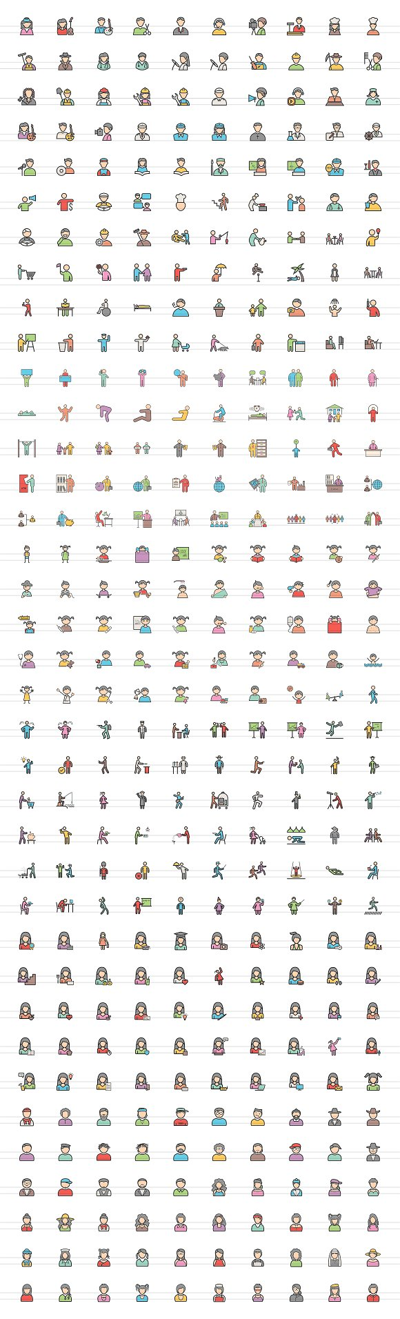 370 People FIlled Line Icons