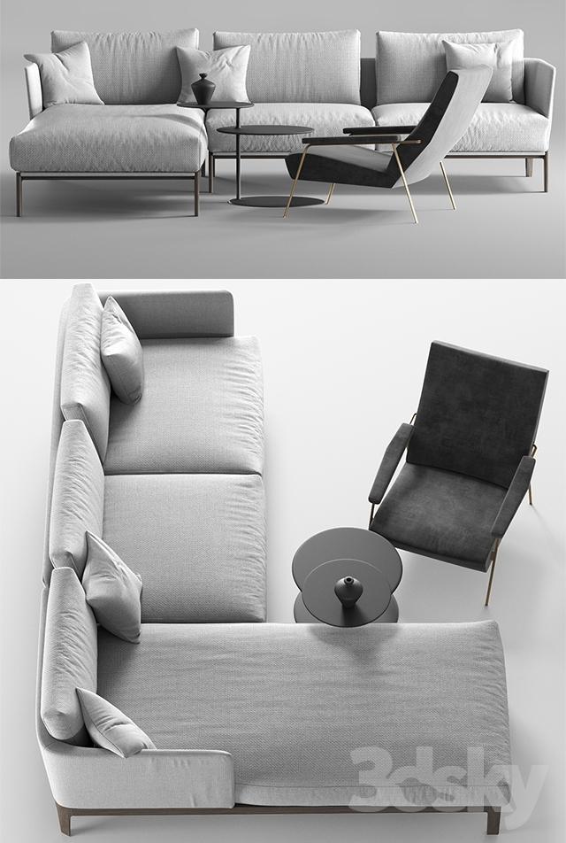 Molteni Chelsea sofa, Molteni d153 armchair