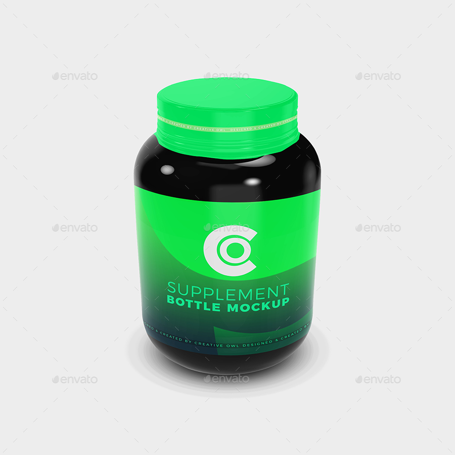 Protein Supplement Bottle Mockup