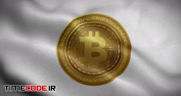 Bitcoin White Flag Flag Loop Background 4K
