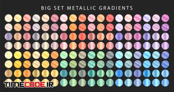 Big Set Of Metallic Gradients. Different Colored Metal Set.