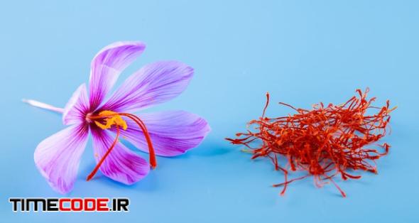 Crocus Flower And Dried Spice Saffron Stamens