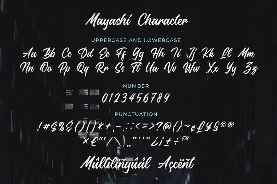Mayashi - Brush Script Typeface