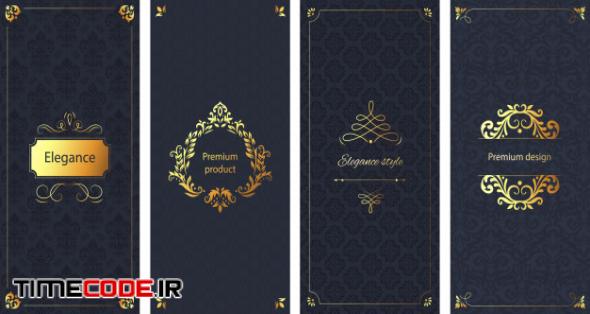 Elegant Invitation. Decorative Damask Ornament Pattern, Golden Frame And Baroque Ornate Luxury Brochure Background Set