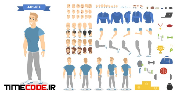 Athletic Man Character Set For Animation With Various Views, Hairstyles, Emotions, Poses And Gestures. School Equipment Set. Isolated Vector Illustration