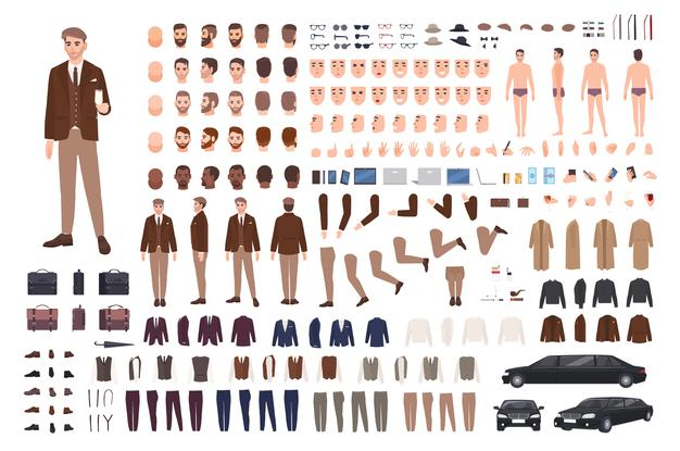 Classy Stylish Man In Suit Creation Set Or Constructor Kit. Bundle Of Body Parts, Poses, Faces, Emotions, Formal Clothes.