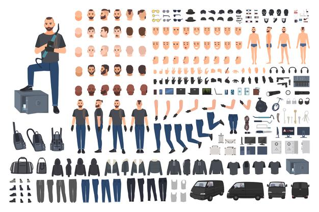 Cracksman, Burglar Or Safe Cracker Creation Set Or Diy Kit. Set Of Flat Male Cartoon Character Body Parts In Different Poses, Clothes And Accessories Isolated On White Background.