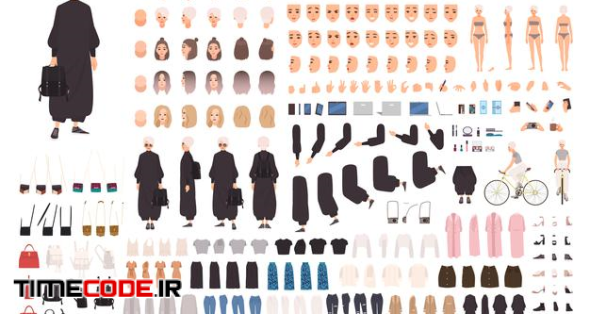Fashionable Young Woman Constructor Kit Or Avatar Generator.