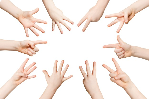 Set Of White Child Hands Showing Figures Counting
