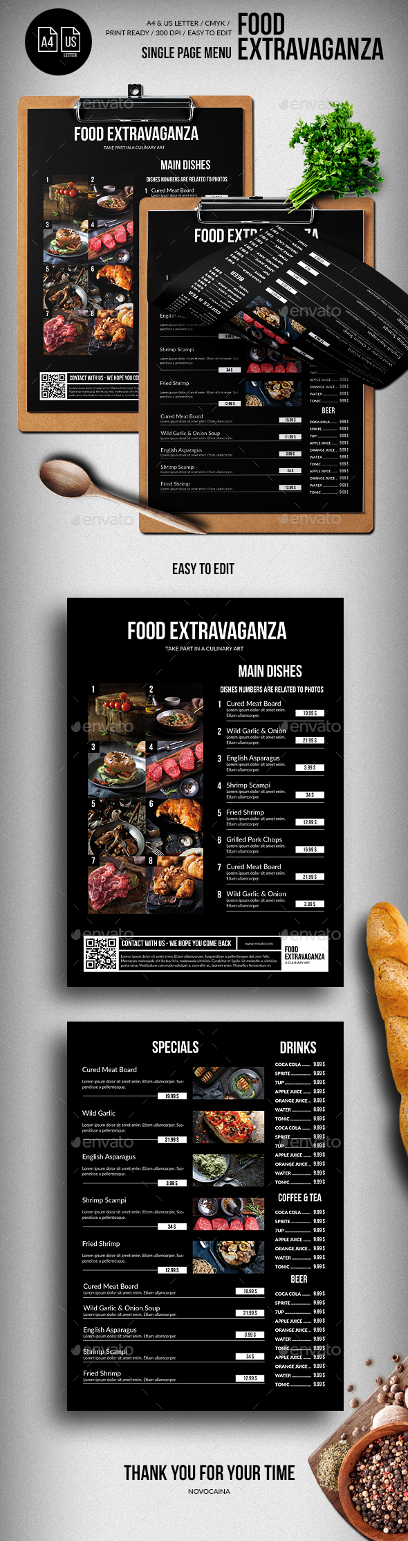 Multipurpose Extravaganza Single Page Menu - A4 & US Letter