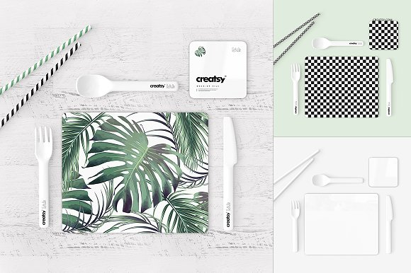Placemat and Coaster Set Mockup Set
