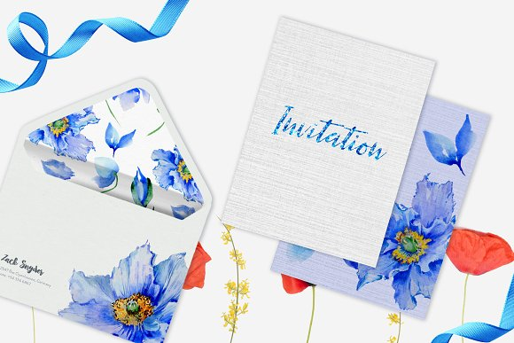 Blue Poppies Watercolor png