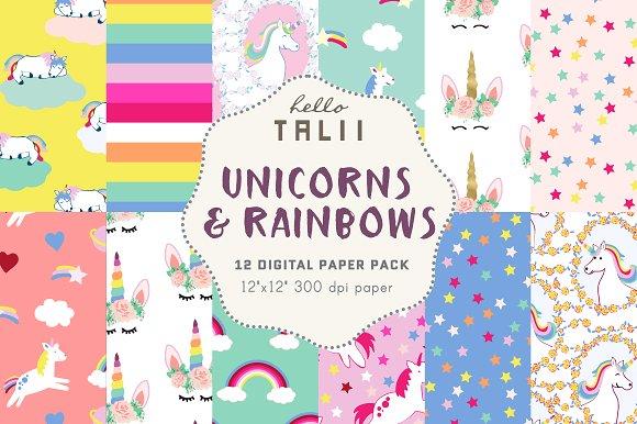 Unicorns & Rainbows Digital Paper
