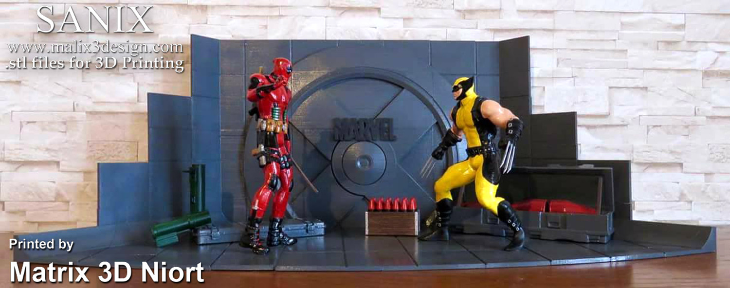 Xmen Diorama Deadpool vs Wolverine 3D Print Model