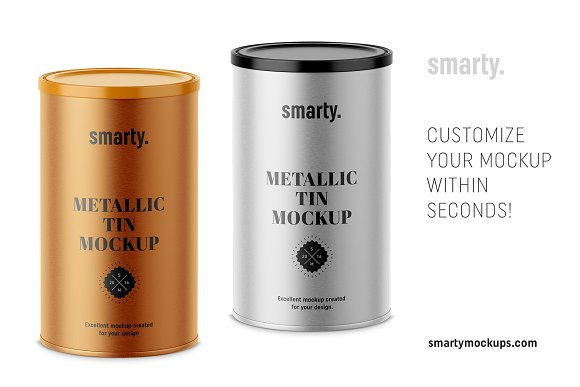 Metallic Tin Can Mockup
