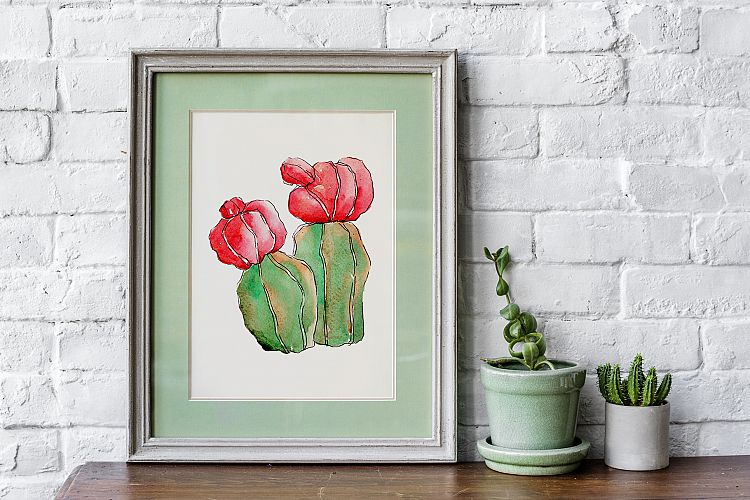Cool colorful cacti PNG watercolor set