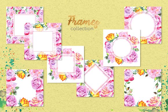 Pink roses collection watercolor
