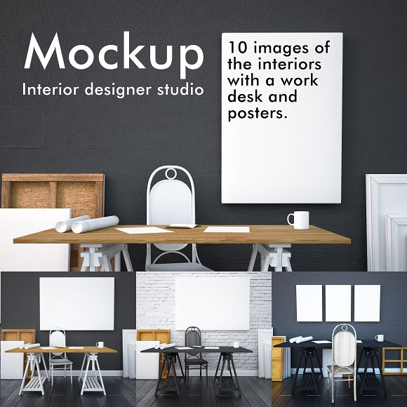 Mockup Studio Interior With Posters