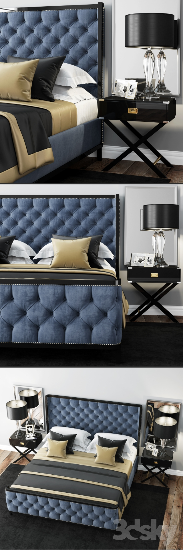 Bed LuXeo USA Kensington Queen Tufted
