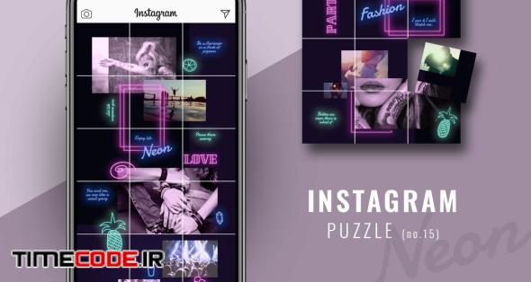 Instagram PUZZLE Template - Neon