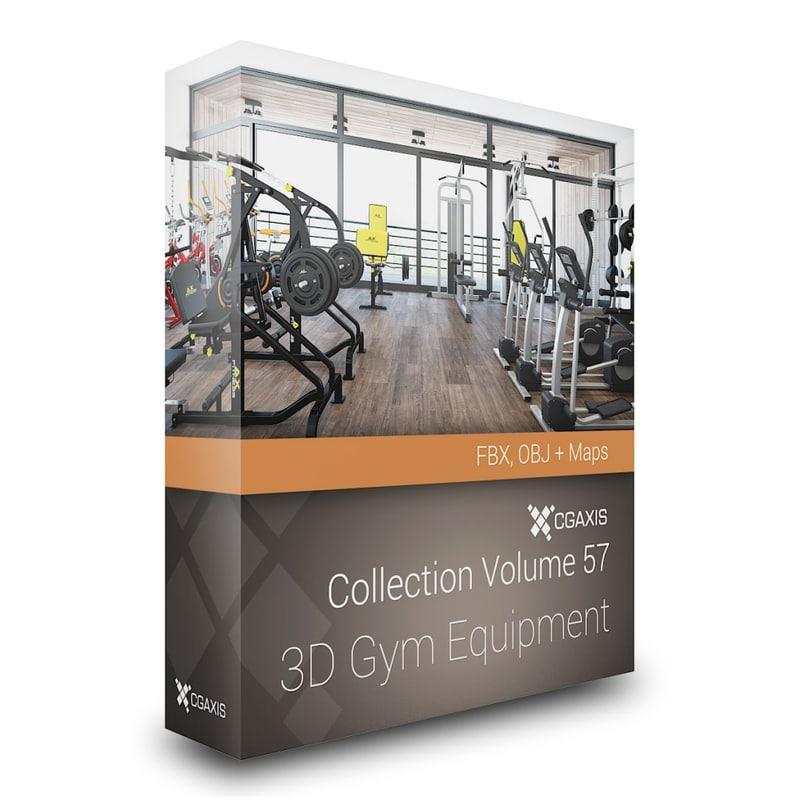 3D Gym Equipment – CGAxis Models Volume 57 FBX OBJ
