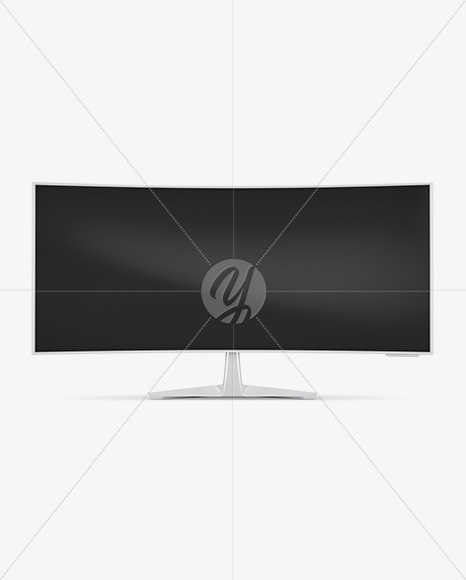 Glossy Ultrawide Monitor Mockup in Device Mockups on Yellow Images Object Mockups