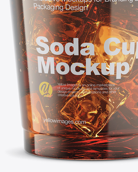 Transparent Plastic Soda Cup With Ice Mockup in Cup & Bowl Mockups on Yellow Images Object Mockups