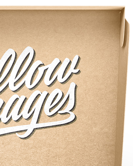 Opened Kraft Paper Box Mockup in Box Mockups on Yellow Images Object Mockups