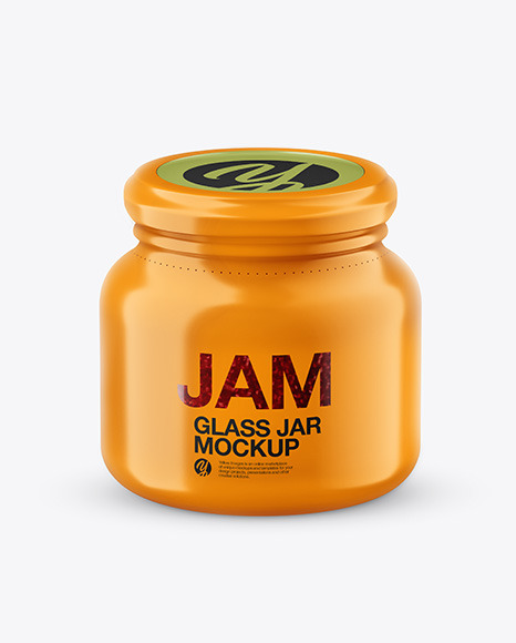 Glass Raspberry Jam Jar in Shrink Sleeve Mockup in Jar Mockups on Yellow Images Object Mockups