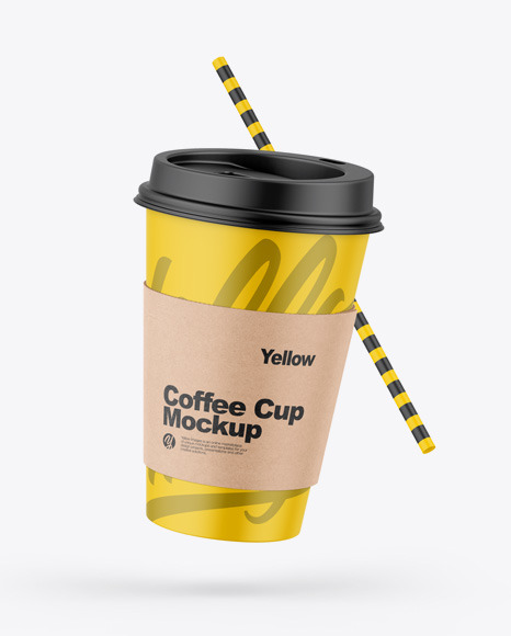 Matte Coffee Cup W/ Straw Mockup in Cup & Bowl Mockups on Yellow Images Object Mockups