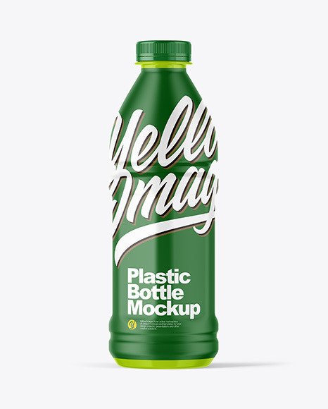 Glossy Plastic Bottle Mockup in Bottle Mockups on Yellow Images Object Mockups
