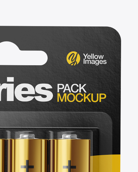 4 Pack Metallic Battery AA Mockup in Packaging Mockups on Yellow Images Object Mockups