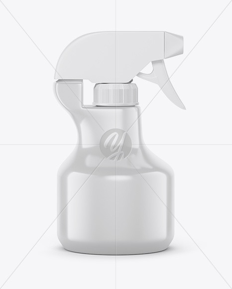 Glossy Plastic Bottle with Trigger Sprayer Mockup in Bottle Mockups on Yellow Images Object Mockups