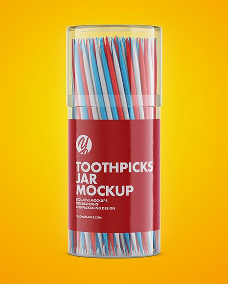 Toothpicks Jar Mockup in Jar Mockups on Yellow Images Object Mockups