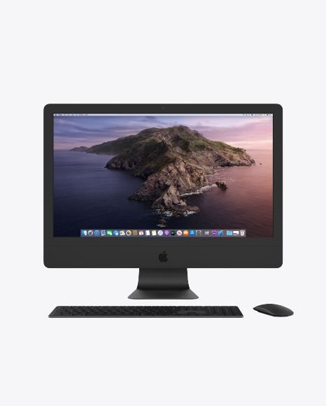 Clay IMac Pro Mockup with Keyboard and Mouse Mockup in Device Mockups on Yellow Images Object Mockups