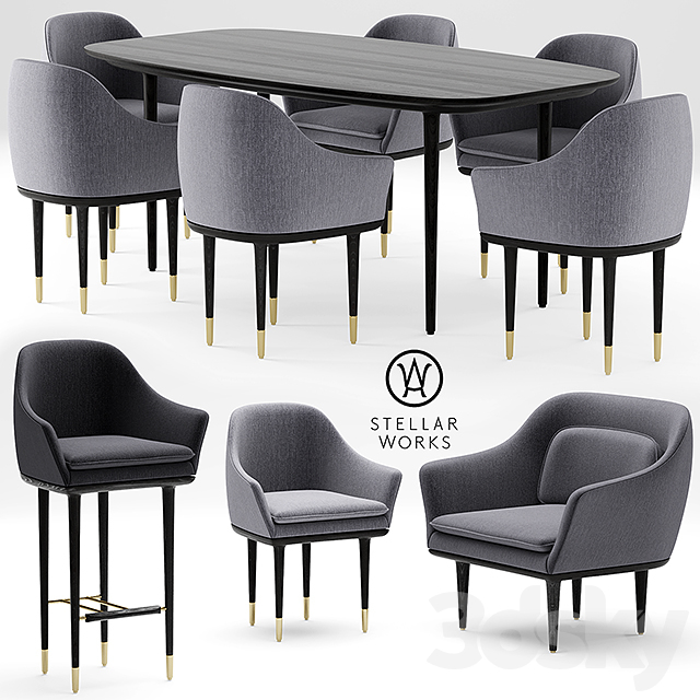 Table And Chairs STELLAR WORKS LUNAR LOUNGE CHAIR LARGE