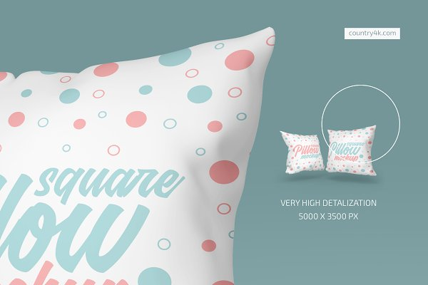 Square Pillow Mockup Set | Creative Product Mockups