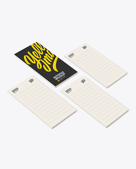 Four Paper Pads Mockup in Stationery Mockups on Yellow Images Object Mockups