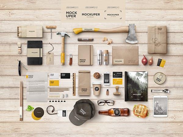Brutal Wood Branding Mock-Up (PSD)
