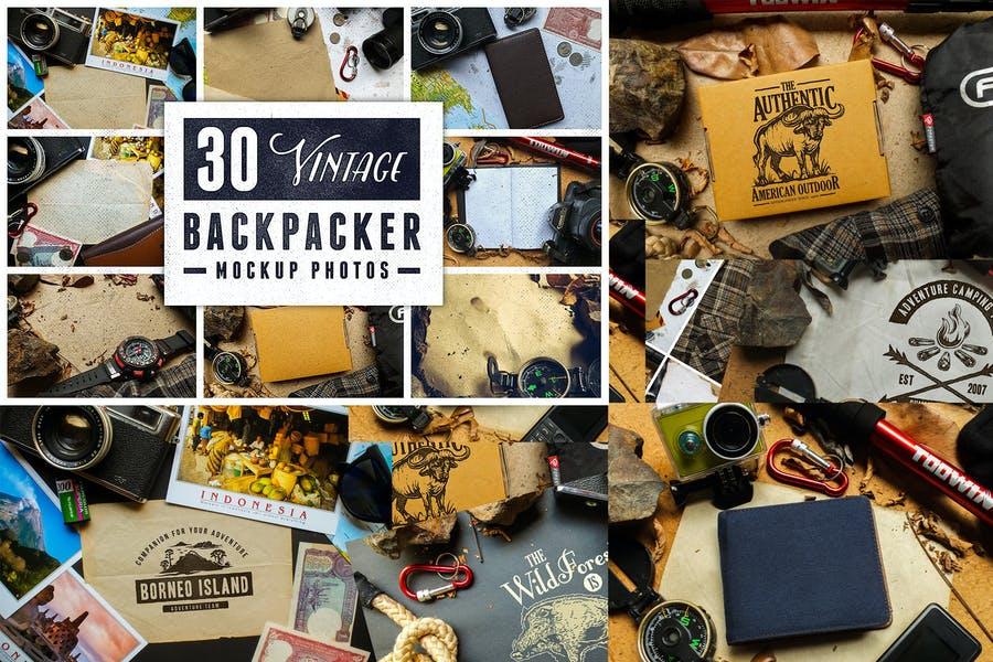 30 Vintage Backpacker Mockup Photos