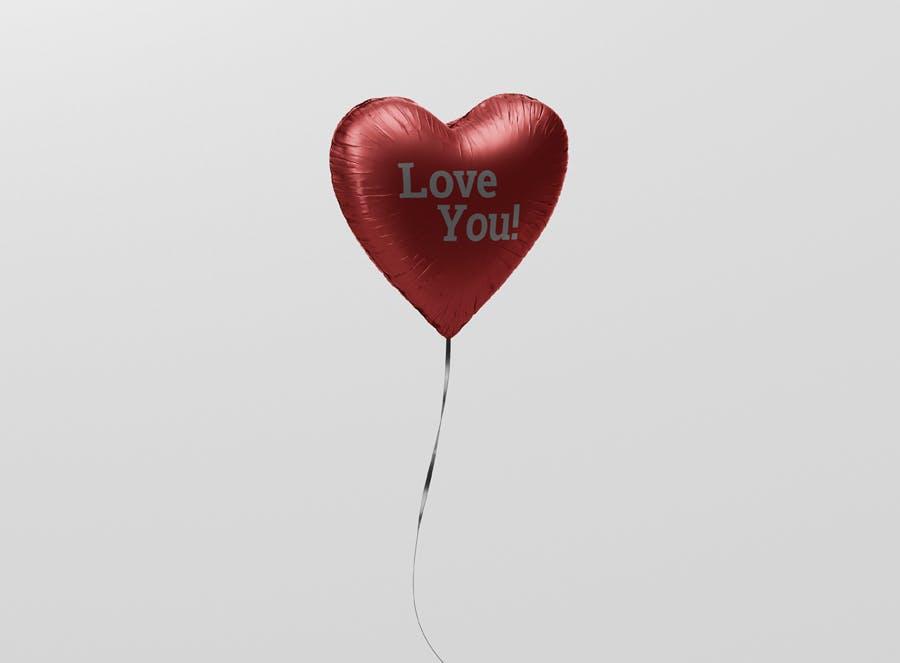 Valentine Heart Balloon Mockup