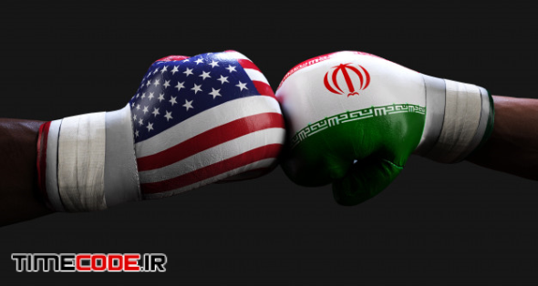 Boxing gloves with eeuu and iran flag