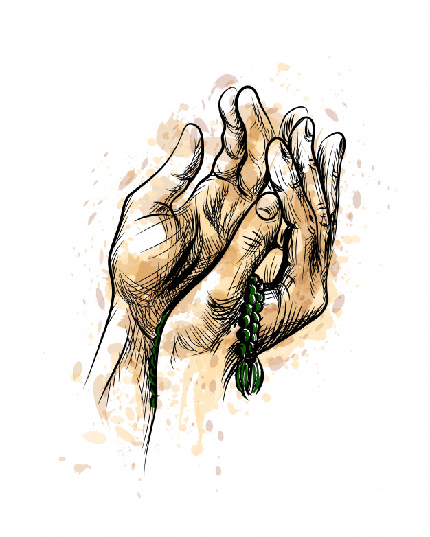 Praying Hands With Rosary, Hand Drawn Sketch Vector Background.