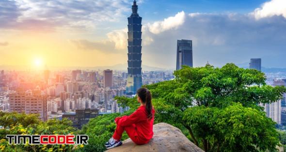 Tourist Woman Enjoying View On Mountains In Taipei, Taiwan. Free Photo