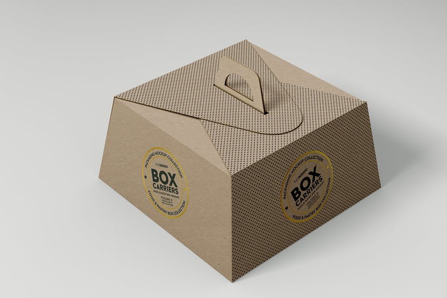 Food Pastry Boxes Vol.5:Carrier Boxes Mockups